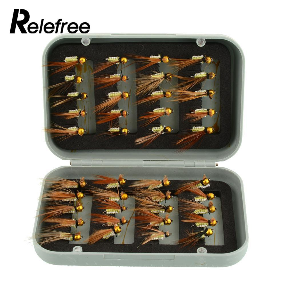 Relefree 40pcs Various Dry Fly Fishing Lures Tackle Kits Fishing Trout Flies Goldhead Fish Lures Boxed Set  Drop Shipping mnft 10pcs 14 dry flies economic fly selection fishing lures golden wire yellow zebra body fishing flies