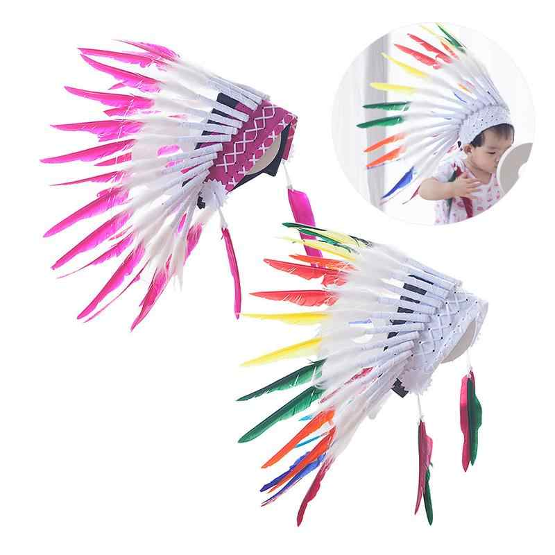 16cfd9db7 ... 2 color Indian feather Headdress Native American headdress indian  feather costumes War Bonnet Hat indian headdress