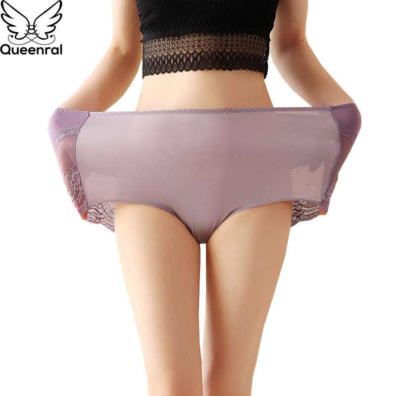 8174f9e7b Queenral Cuecas Mulheres Sexy Lace Transparente Underwear Calcinhas de Algodão  Mulheres Sem Costura Calcinhas de Cintura Alta Para As Mulheres 5XL 6XL ...