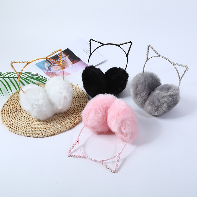 Earmuffs Fur Headphones Ears Winter Femme Children Cat Plush Boucle D'oreille