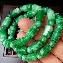 Natural green Malay jade zhuanyun bead bracelet men and women fashion jewelry wholesale