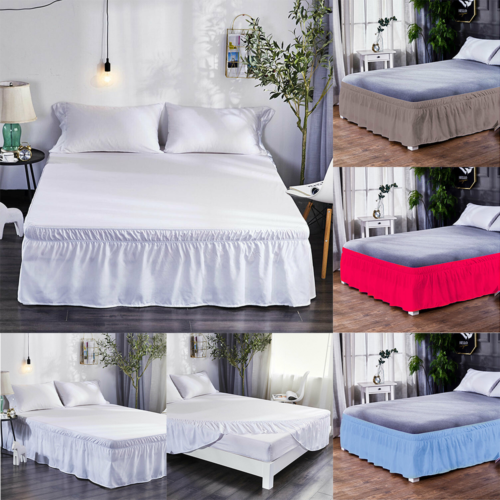 Solid Brief Plain Classic Elastic Bed Skirt Dust Ruffle Easy Fit King Queen Full Twin Bed Linings Bed Decor Home Textile