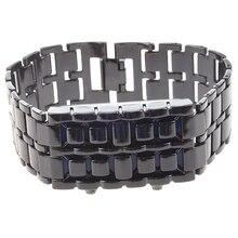 лучшая цена Blue LED Digital Black Lava Style Wrist Watch Iron Metal Samurai Men with Box