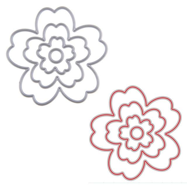 4 Шт./компл. Металлический Цветок Резки Умирает Трафарет Для DIY Скрапбукинг Бумага Карты Декор