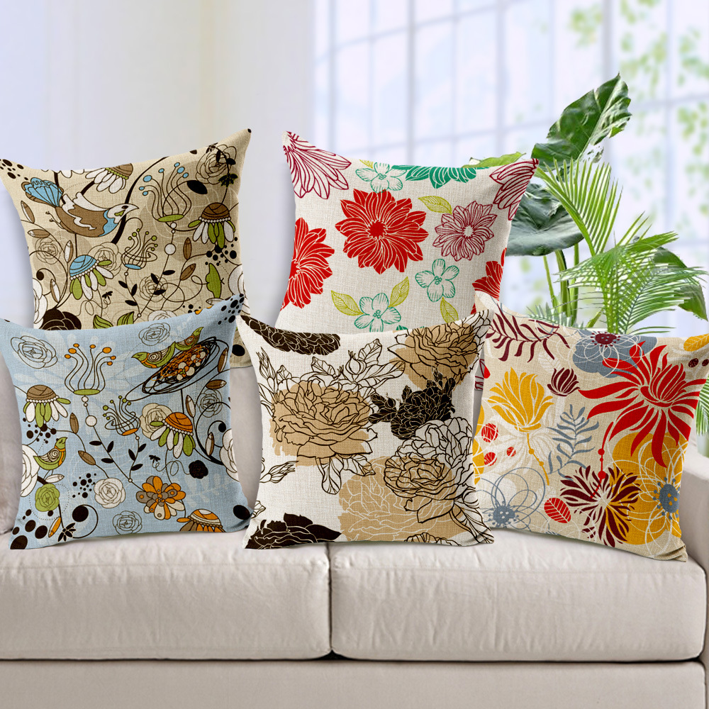 How To Make A Decorative Pillow By Hand : Hand painted Flower Linen Cushion Cover Korean Fresh Style Decorative Throw Pillow Covers ...