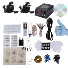 1 Set Complete Tattoo Kit Electric Shader Guns Machine Shader Liner Power Supply Needles Grips Tips with CD