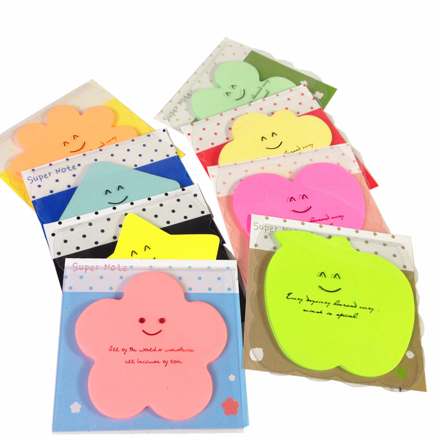 32packs/lot Kawaii shape Candy color super note sticky notes Post it memo pad for students DIY message note papelaria kirtasiye