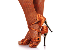 Hot Sale Girls Latin Dancing Shoe Dark Tan Satin Fabric Gold 3″ Heels Women Rumba Chacha Samba Paso Doble Jive Dance Shoe 2324
