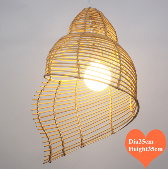 Chinese hand knitting rattan art Pendant Lights Southeast Asia rustic snail design E27 LED lamp for porch&parlor&stairs LHDD029
