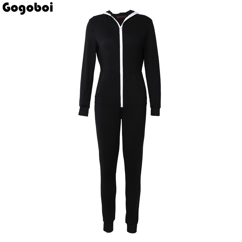 2018 Casual Women One Piece Outfits Jumpsuits Long Sleeve Bodycon Front Zipper Hooded Lo ...