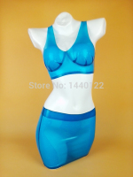 Women Sexy Latex Lingerie With Bra And Mini Skirt Hot Lady Beach Blue Rubber Swimwear Plus Size Hot Sale Customize service