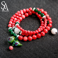 SA SILVERAGE Hand woven Bracelet for Women Strand Bracelet Multilayer Chain Dual purpose Jade Ceramic Jewelry Beautiful Necklace