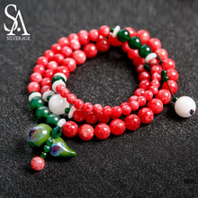 SA SILVERAGE Hand-woven Bracelet for Women Strand Bracelet Multilayer Chain Dual-purpose Jade Ceramic Jewelry Beautiful Necklace
