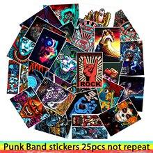 25 piezas estilo punk rock band pegatinas para equipaje portátil