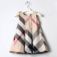 New Summer 2017 Girls Dress Pure Cotton Roupas Infantis Menina European Style Kids Princess Plaid Vest
