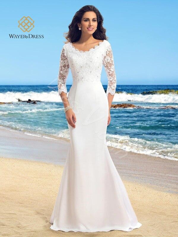 Romantic Beach Casual Wedding Dress with 3/4 Sleeves Floor Length ...