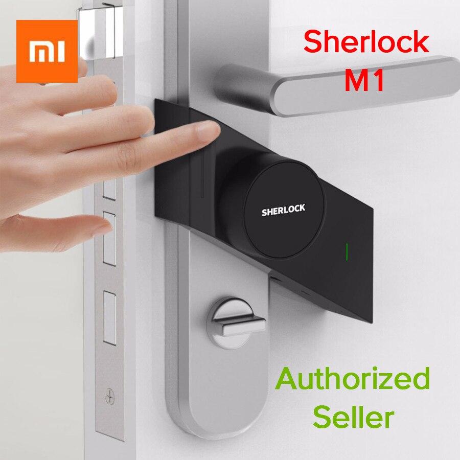 Date Xiao mi mi jia Sherlock serrure intelligente M1 mi jia serrure de porte intelligente Sans Clé D'empreintes Digitales + Mot de Passe Travail à mi Maison App téléphone Contrôle