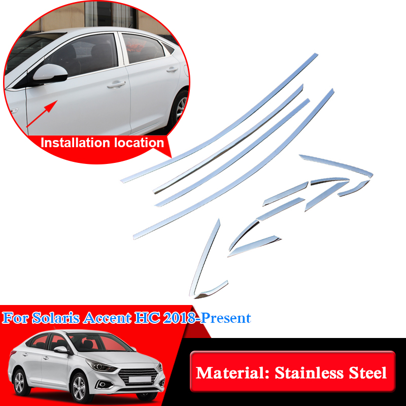 Car Styling Stainless Steel Full Window Trim Decoration Strips For Hyundai Solaris Accent HC 2018 Car