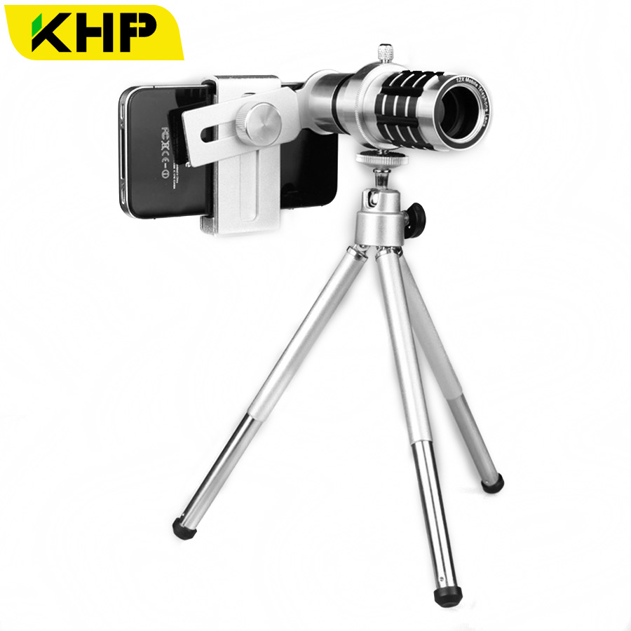 KHP 12x Telescope Zoom Lens Mobile Phone Lenses for iPhone 4 4S 5 5S 5G 6 6S Samsung Xiaomi HTC Sony