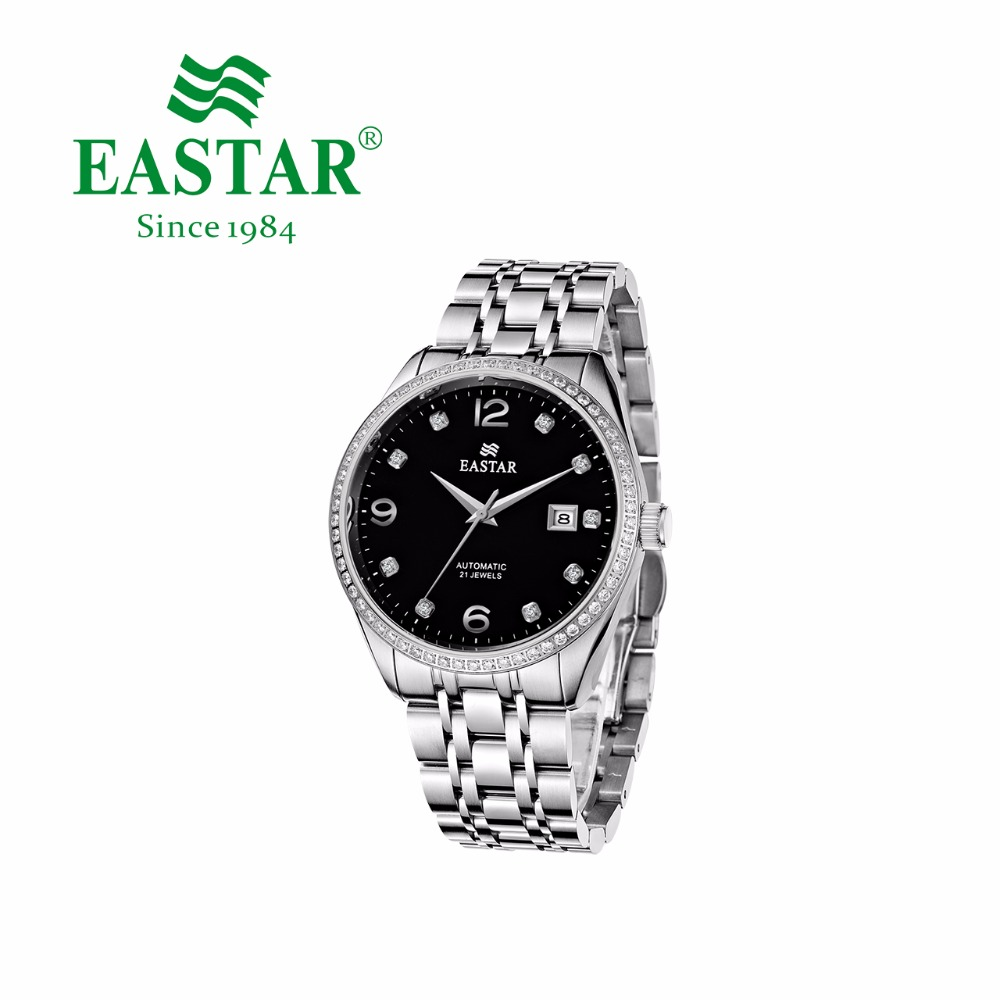 Eastar Full-automatic Mechanical Watch Luxury Stainless Steel Brand Leather Man Calendar Diamond Waterproof Wrist Watch eastar japan quartz movement watch casual luxury stainless steel case and brand man calendar metal dial waterproof wrist watch