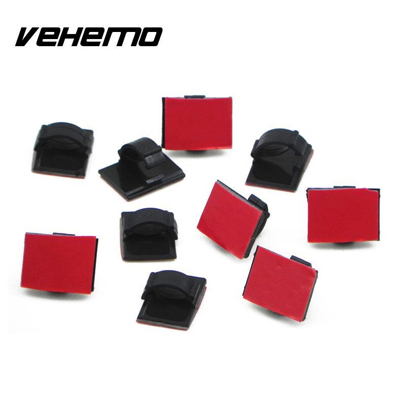 Vehemo 30 Pcs Car Auto Rectangle Wire Tie Cable Fastners Styling Accessories Black Clip