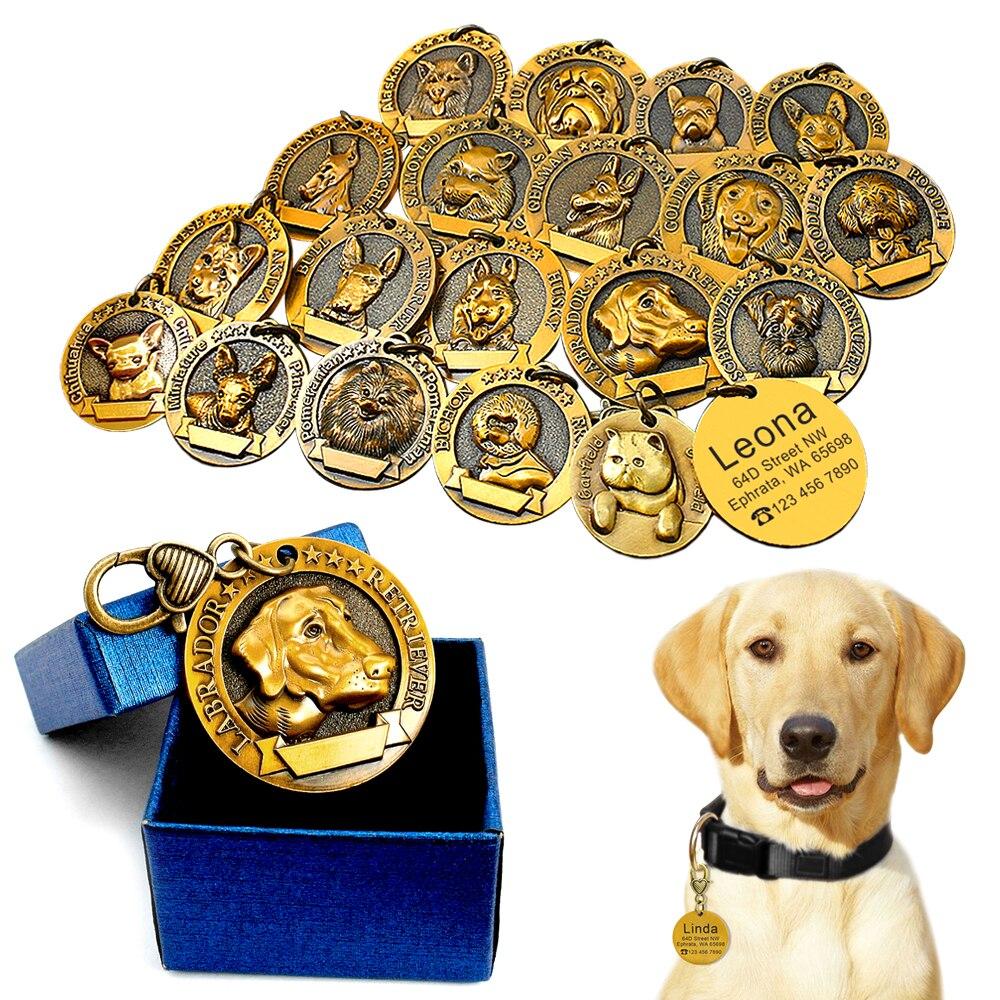 Etiqueta de identificación de perro personalizada etiquetas personalizadas de perros placa de identificación Anti-Pérdida grabado libre Pet colgante para collares Collar chapado en cobre