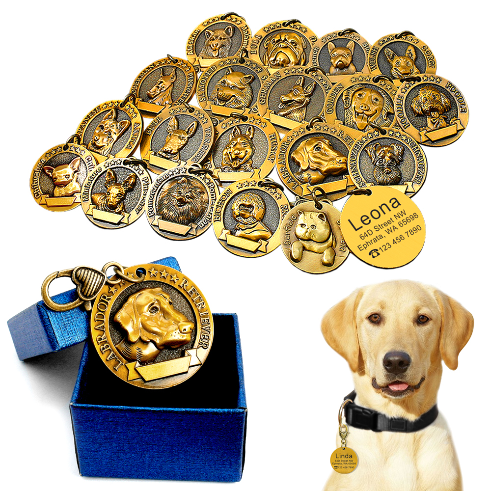 Personalizzato Dog ID Tag Personalizzato Cani Tags Targhetta Anti-lost Spedizione Incisione Pendente Dell'animale Domestico Per Il Collari Della Collana di Rame Placcato
