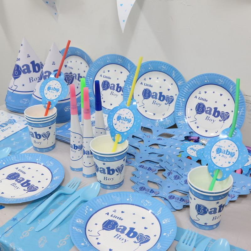 for 4 people baby shower 1st birthday decoration supplies paper plates + cups +flags +tablecover kids boy party favors set 26pcs on Aliexpress.com | Alibaba ... & for 4 people baby shower 1st birthday decoration supplies paper ...