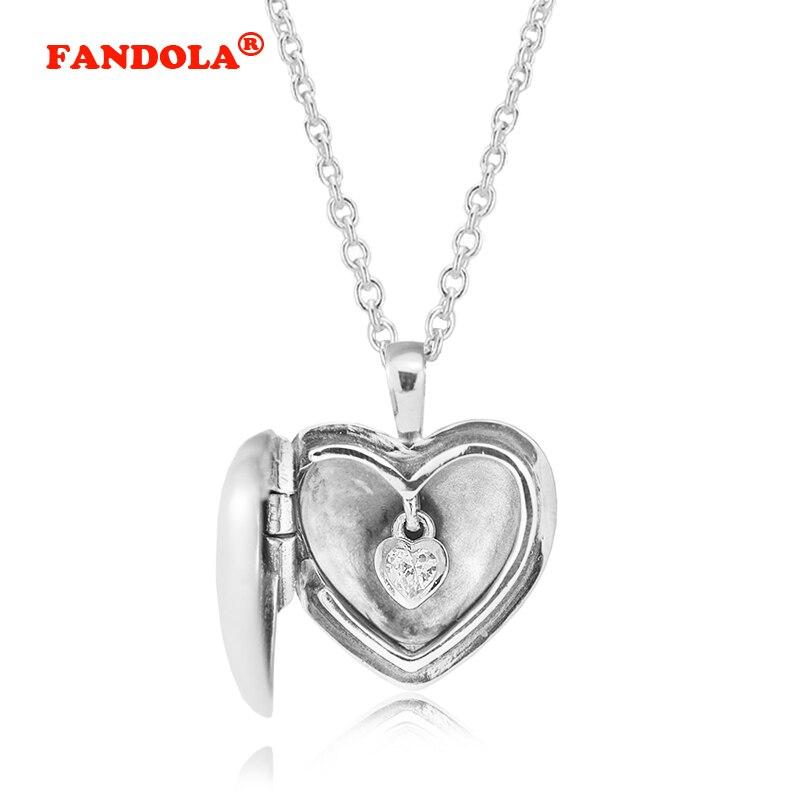 90 cm longueur chaîne amour médaillon pendentif collier avec clair cubique zircone pierre 100% Original 925 Sterling-argent-bijoux CKN023