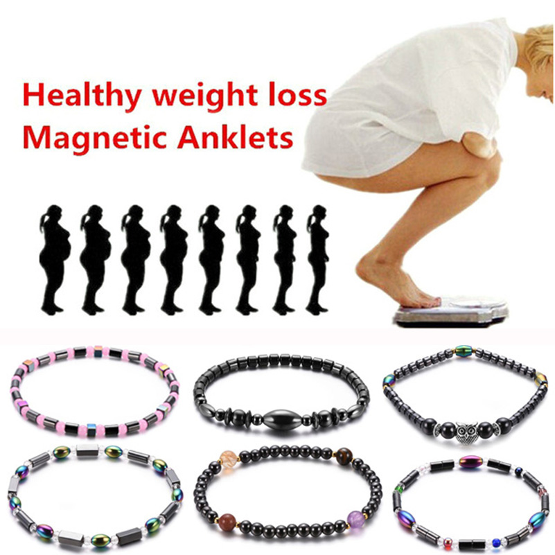 12 Types Weight Loss Magnet Anklet Colorful Stone Magnetic Therapy Bracelet Weight Loss Product Slimming Health Care jewelry