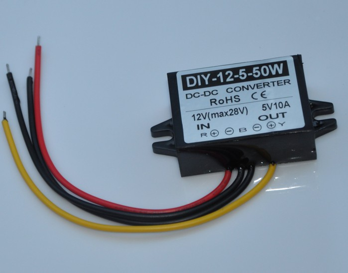 цена на Converter DC 12V(8V-28V) Step Down 5V 10A 50W DC-DC Module DC Buck Converter Car Power Adapter Voltage Regulator Waterproof