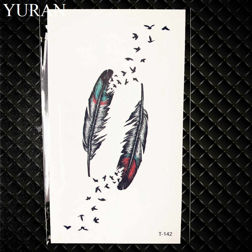 Sexy Black Tribal Feather Birds Temporary Tattoo Women Body Arm Art Tattoo Stickers Indians Swallow Men Waterproof Tatoo Makeup