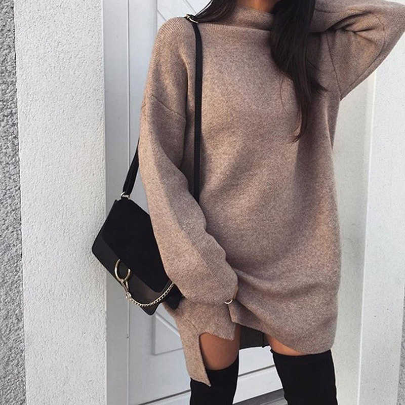 d50f3138029a Bigsweety Women Autumn Knit Sweater Dress 2018 Fashion Turtleneck Side Split  Elastic Solid Color Knitted Dress