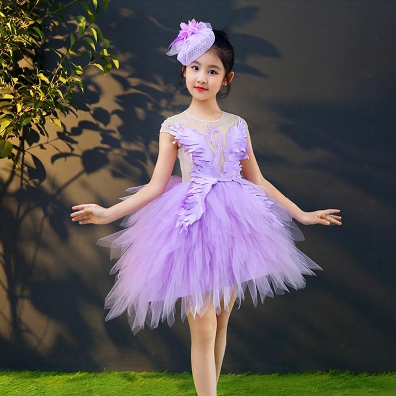 Purple Swan Royal Princess Dress Birthday Party Feather Ball Gown Wedding Flower Girl Dresses Beading Holy Communion Dress K52 цена