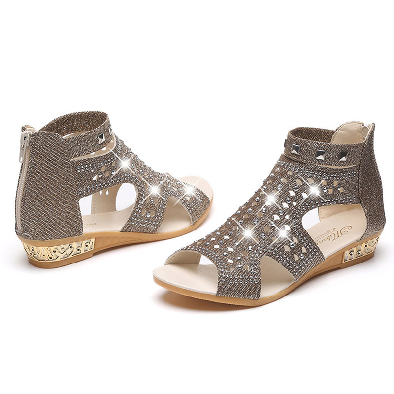 Zapatos Bling Punta Mujer 2018 Boca Los Pescados gold Mujeres Sandalia Huecos Beige black Roma Cuñas De Botines Abierta Sandalias Cristalinas Fa88f1qxSw