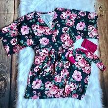 Коллекция года, одинаковые пижамы для мамы и ребенка, халат, одежда для сна с длинными рукавами и цветочным принтом, одежда для пеленания