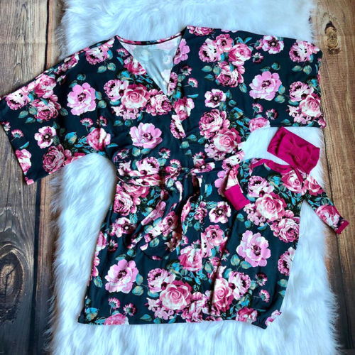 2018 Lady's Mother Baby Matching Pajamas Robe Flower Long Sleeve Sleepwear Swaddle Clothes
