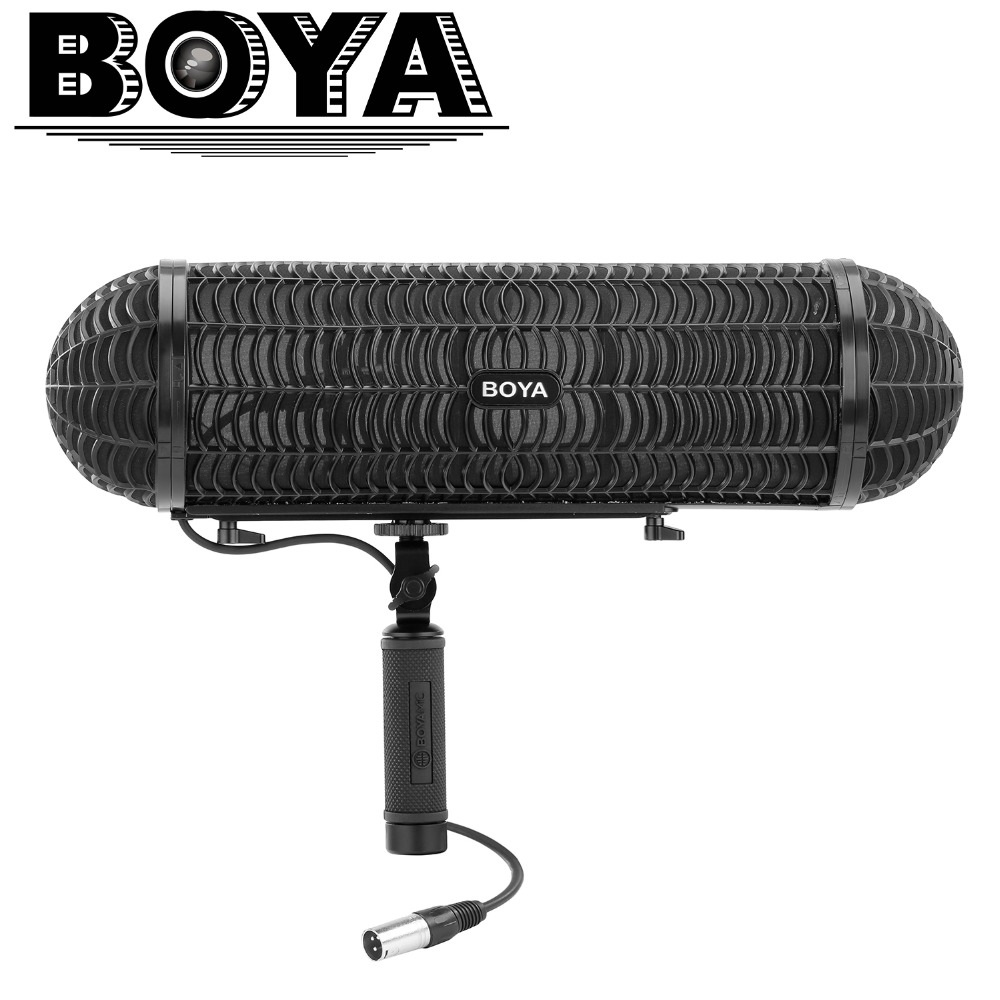 BOYA BY WS1000 Windshield and Suspension System with XLR Male and Female Inputs & 3 Shockmount for XLR Input Shotgun Microphones-in Microphones from Consumer Electronics    1