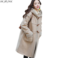 Vintage Loose Suede Hooded Women Long Trench Fashion Casual Warm Lamb Fur Padded PU Overcoat Cocoon Faux Leather Jacket HCY92