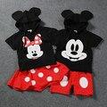 Комплект одежды для маленьких мальчиков с Микки Минни, одежда для девочек, костюм из 2 предметов с героями Диснея, близнецами, братьями и сес...