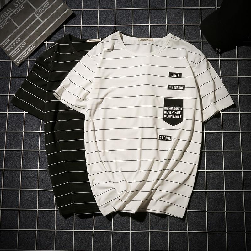 Summer T-shirt Men's Short-sleeved Fashionable Half-sleeved Round-collar Slim Men's Stripe Half-sleeved Clothes MW51 2
