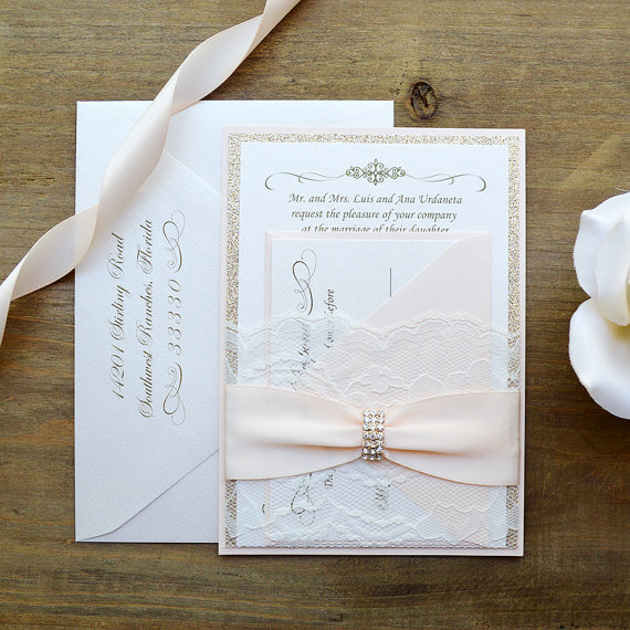 Blush Wedding Invitation With White Lace, And Antique Pink Ribbon And  Silver Rhinestone(China