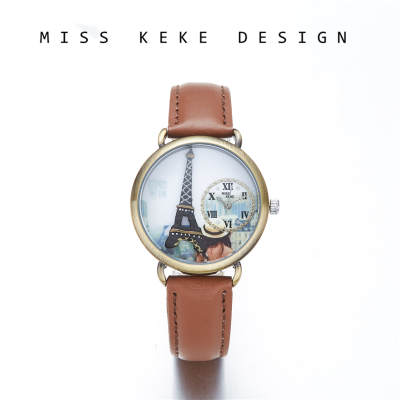 Miss Keke 2018 New Design Clay Cute Geneva Gift Valentine Kids Dress Girl Watches Women Vintage Eiffel Tower Paris 635