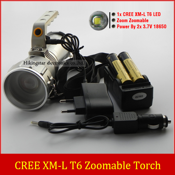 NEW Handle 2000LM CREE XM-L T6 LED Flashlight 18650 Zoomable Flashlight With 2*18650 Battery + Charger 2000lm xm l t6 led zoomable mini flashlight torch lamp light 18650 battery