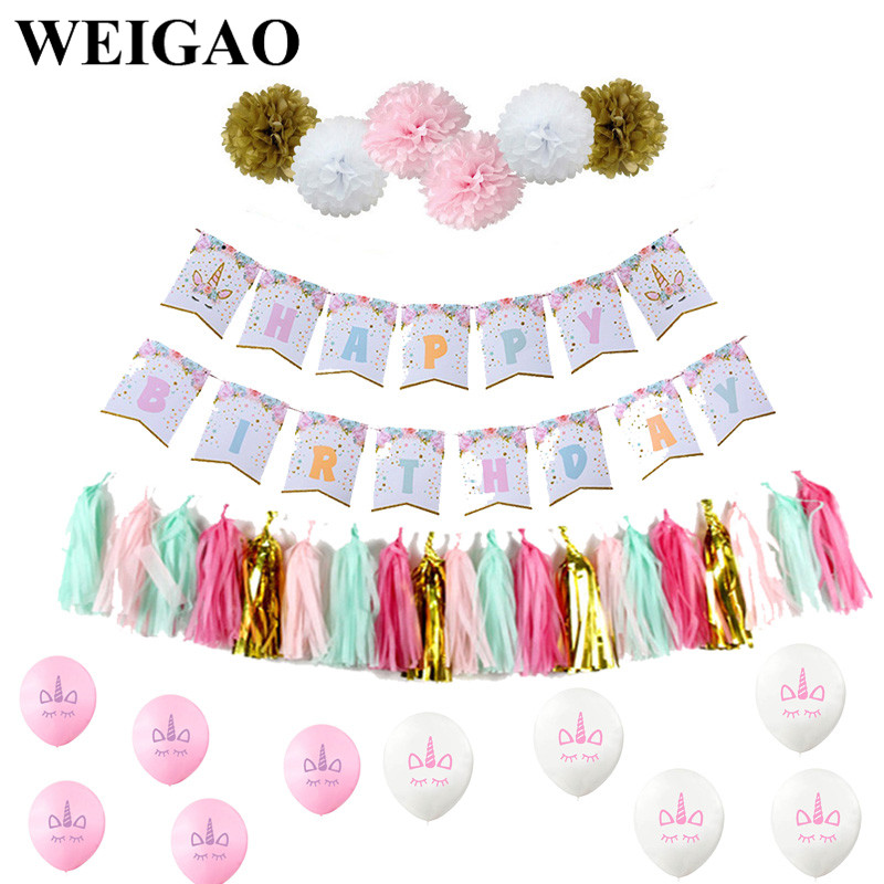 WEIGAO Birthday Party Banners Unicorn Party Unicornio Globo Foil Balloon Tassel Cake Topper One 1st Birthday Backdrop Decoration