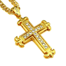 Top Selling 2016 Hip Hop Long Necklaces Pendants Cross Crystals For Men Silver Gold Color Swarovski Mens Accessory Fine Jewelry