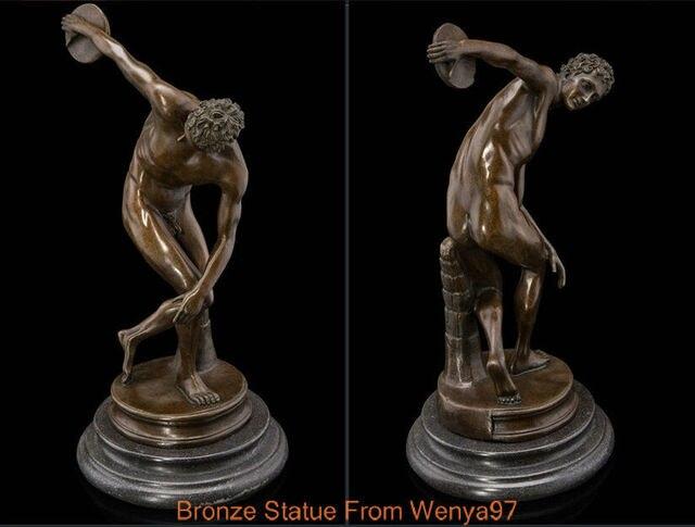 Art Deco Sculpture Athlete Discobolus Nude Man Body Sport Bronze