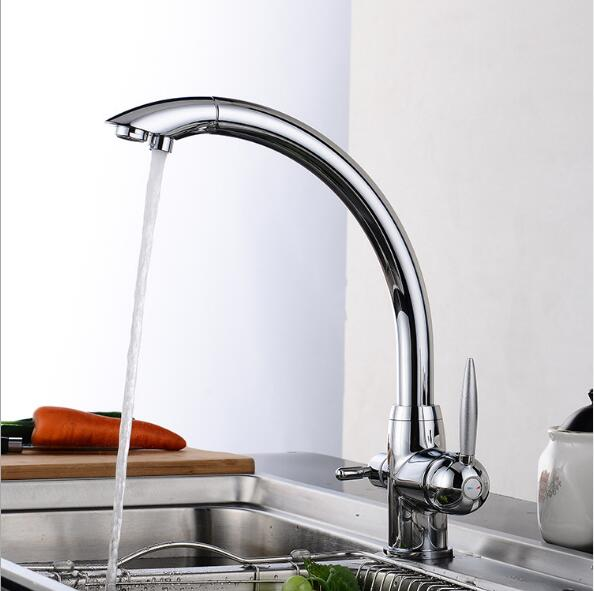 Kitchen Faucet Solid Brass Crane For Kitchen Deck Mounted Water Filter Tap Three Ways Sink Faucet Mixer 3 Way Kitchen Faucet 2015 double function kitchen faucet 3 way kitchen faucet sink mixer water kitchen dinking faucet three way sink mixer tap