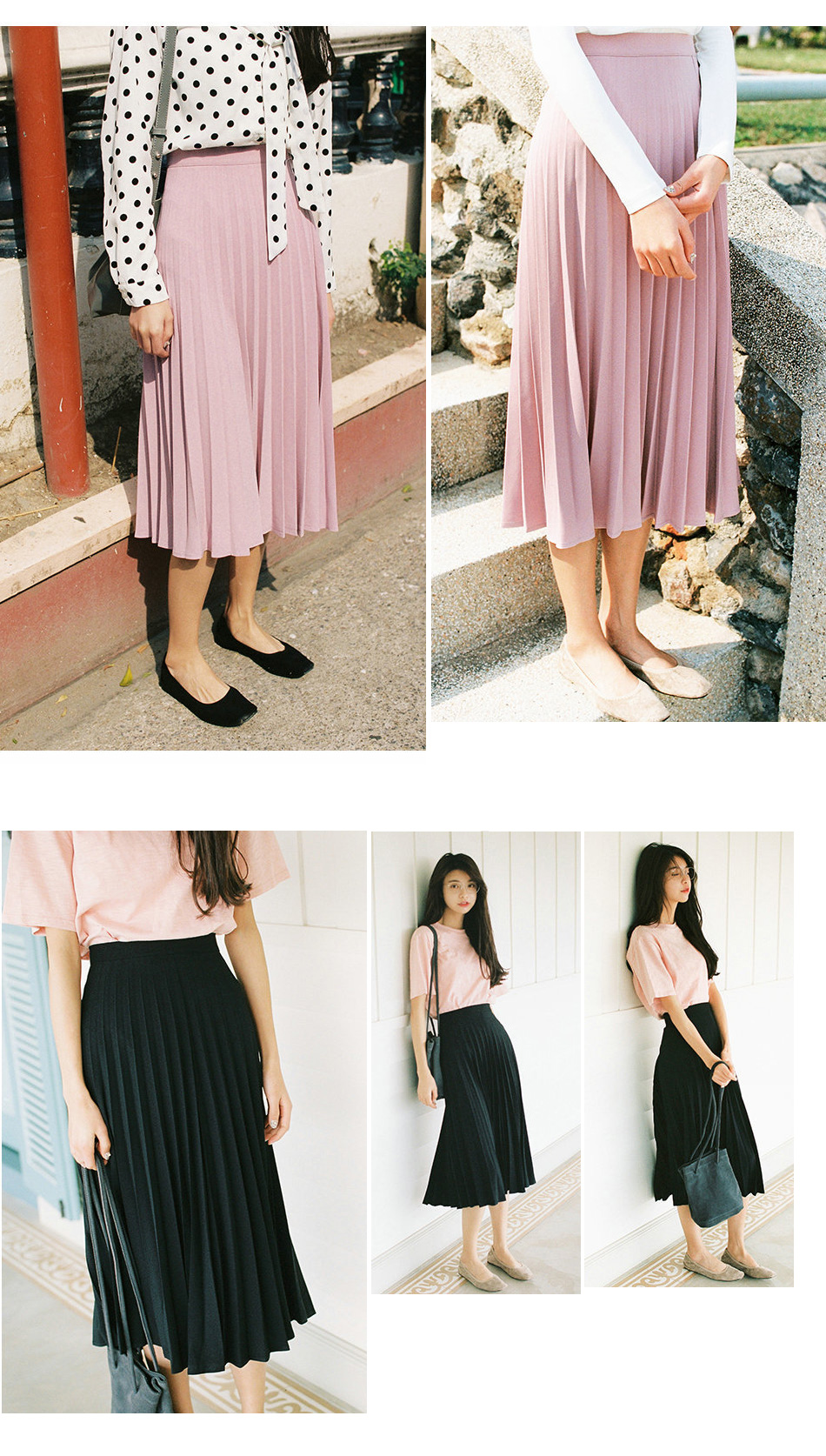 Aonibeier Fashion Women's High Waist Pleated Solid Color Length Elastic Skirt Promotions Lady Black Pink Party Casual Skirts 41