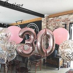 1 шт. 40 дюймов розовое золото, серебро, алюминий воздушные шары из фольги в виде цифр 0-9 День рождения Свадьба Помолвка вечерние украшения Globos...